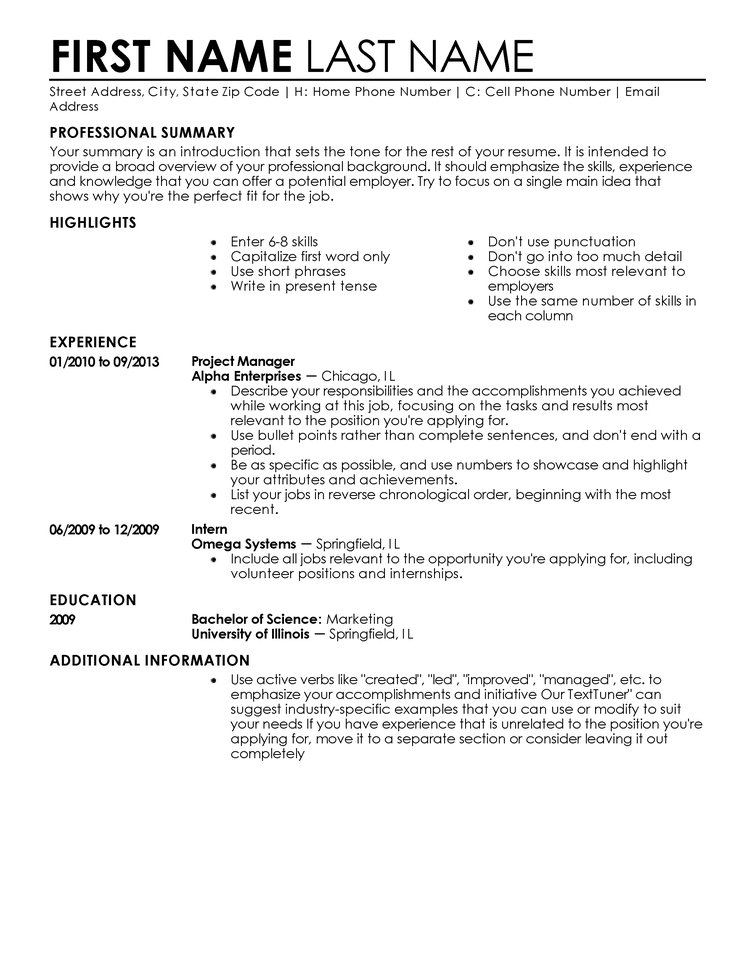 Excellent Resume For Recent College Grad Business Insider Free Resume Templates Fast And Easy Livecareer