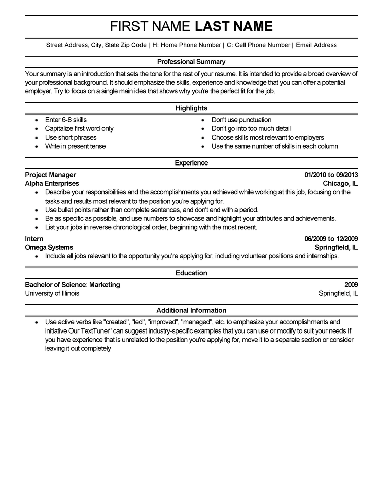 resume examples bullet points