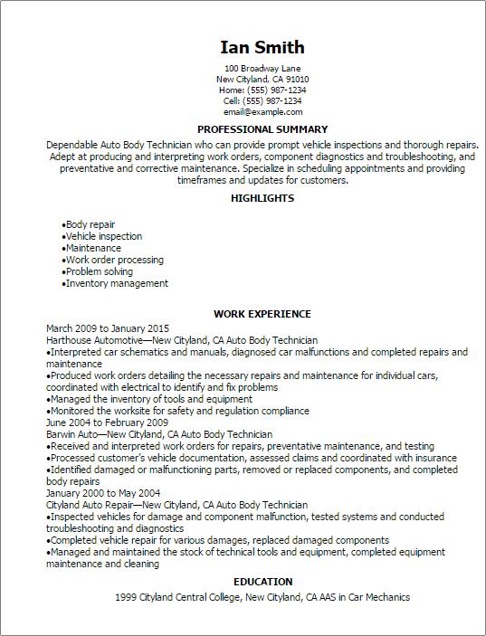 sample resume for automotive paint technician