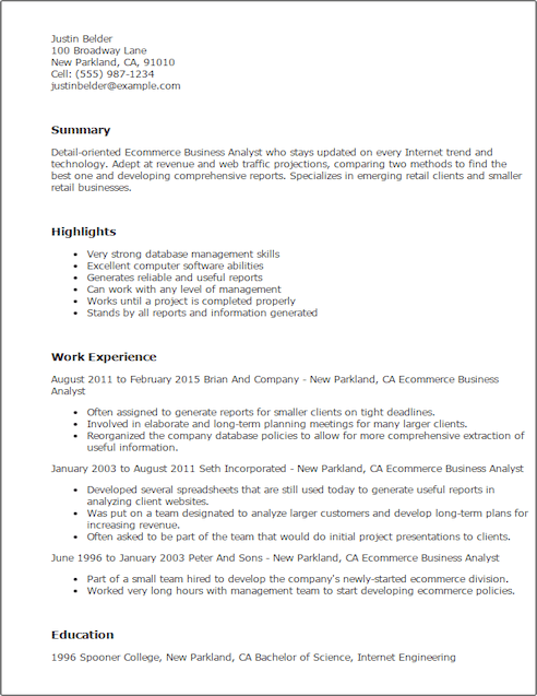 ecommerce business analyst resume sample