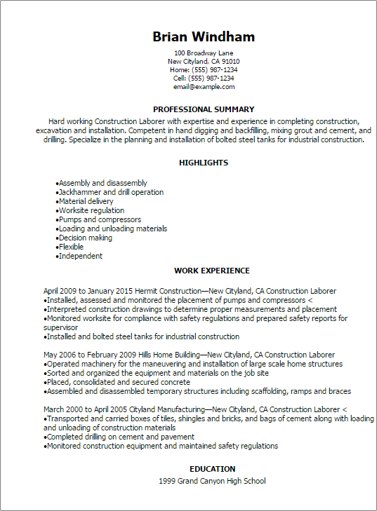 resume summary example for construction