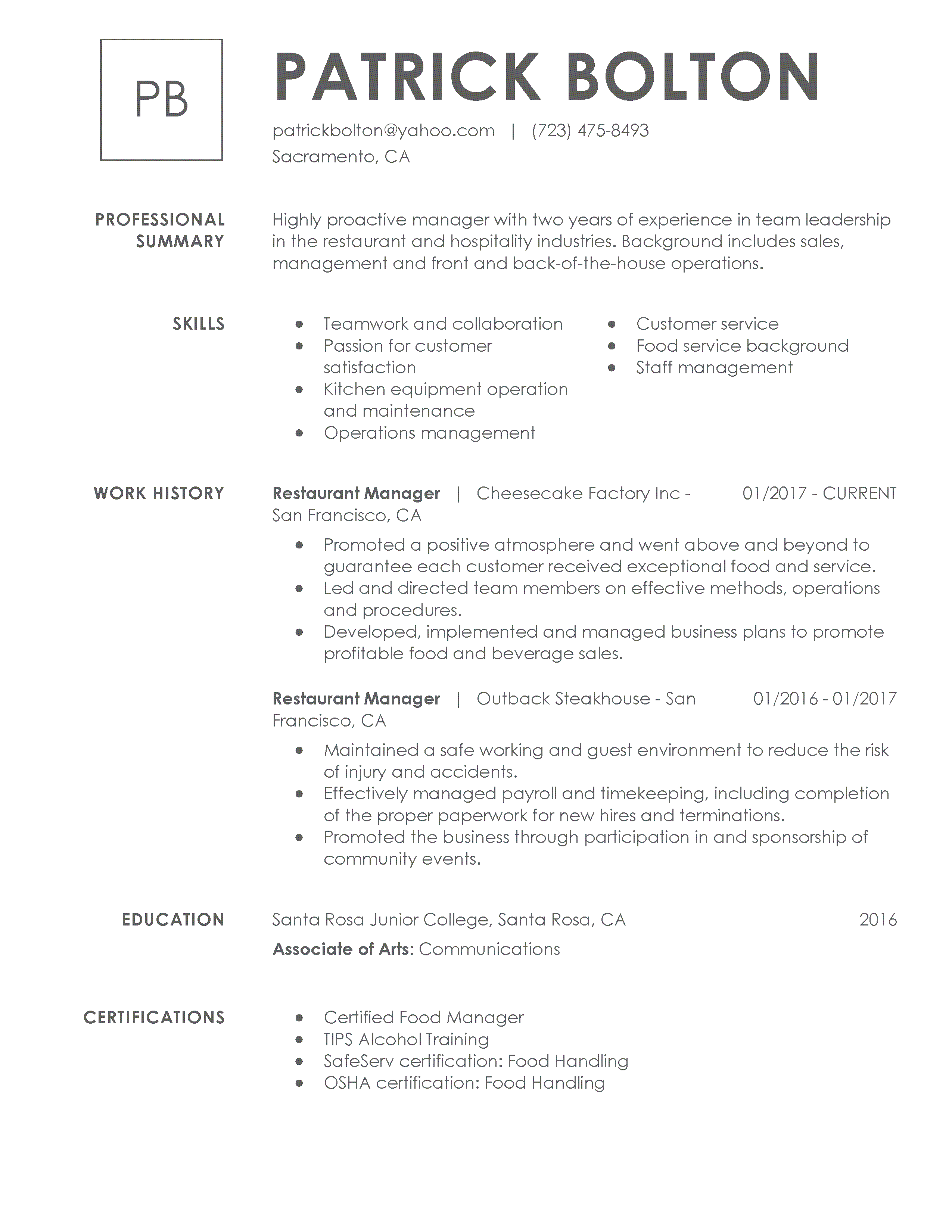 samples of resumes for a job