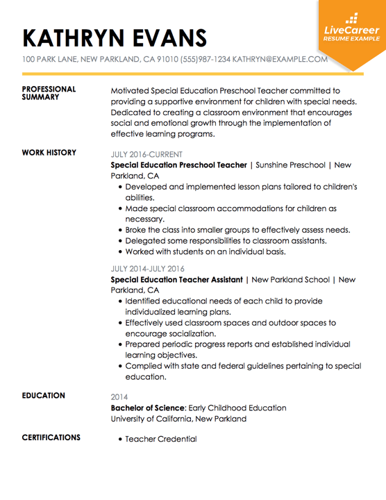 special ed resumes