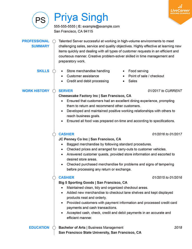 sample resume for chief business official