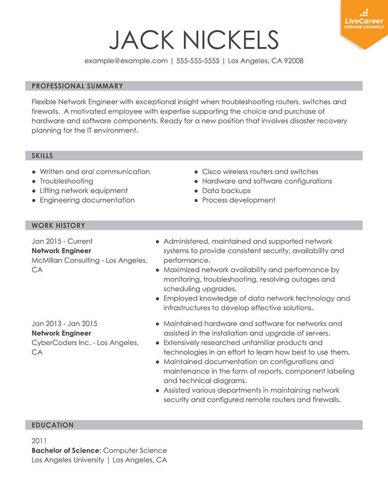 update resume for current job