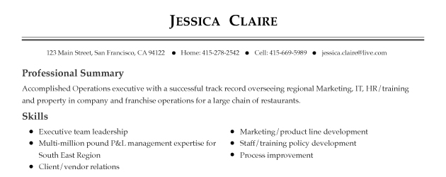 good resume header examples