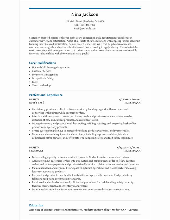 resume statement for barista