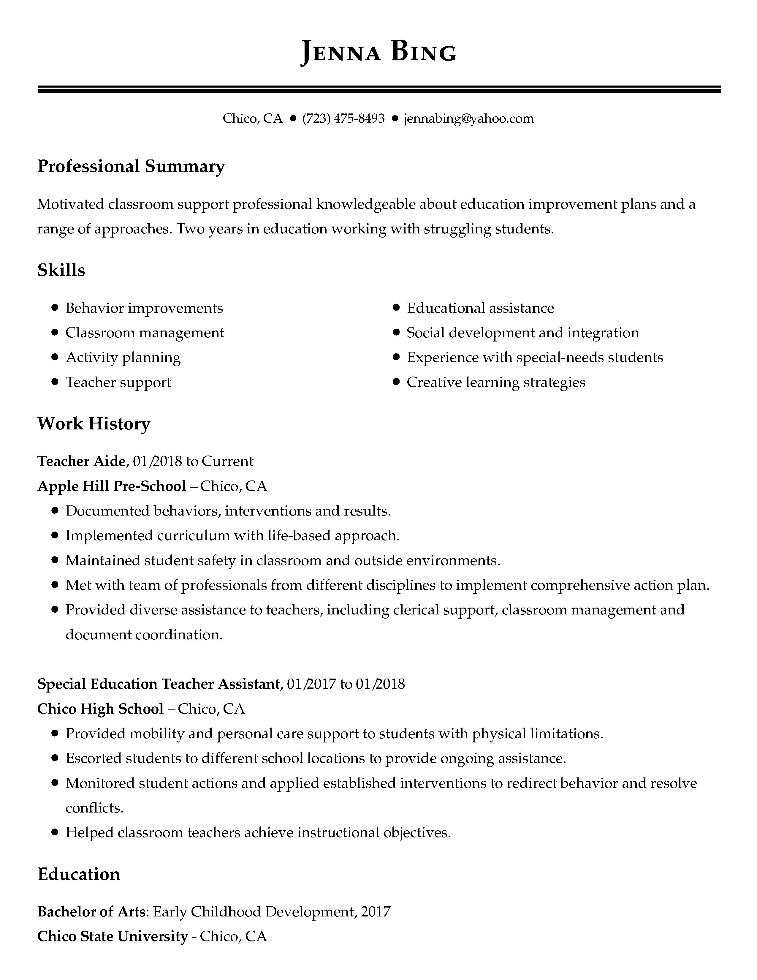 examples of low experience resumes