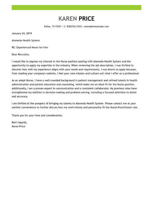 Sample Cover Letters by Industry  Expertise Level