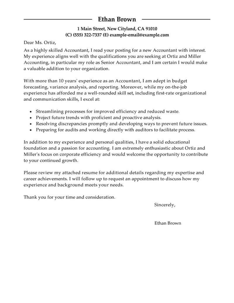accounting firm cover letter examples