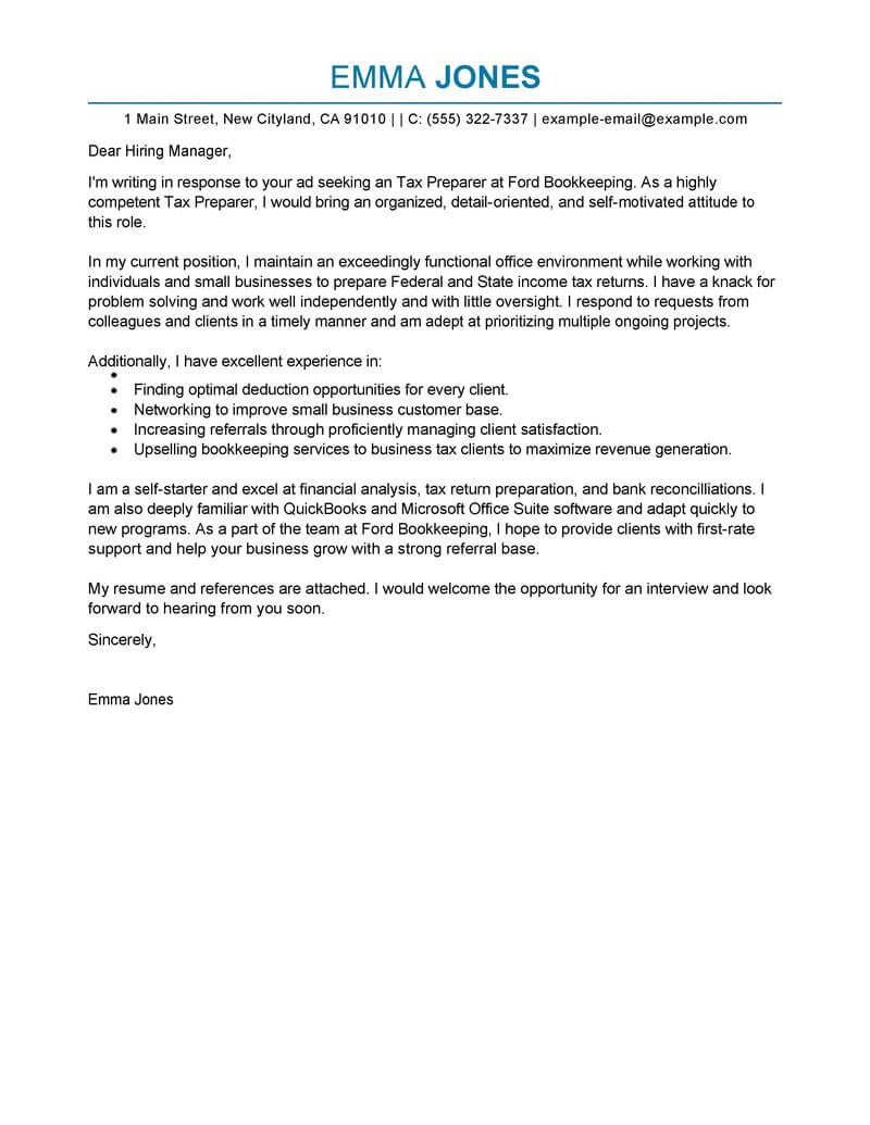 bookkeeping cover letters