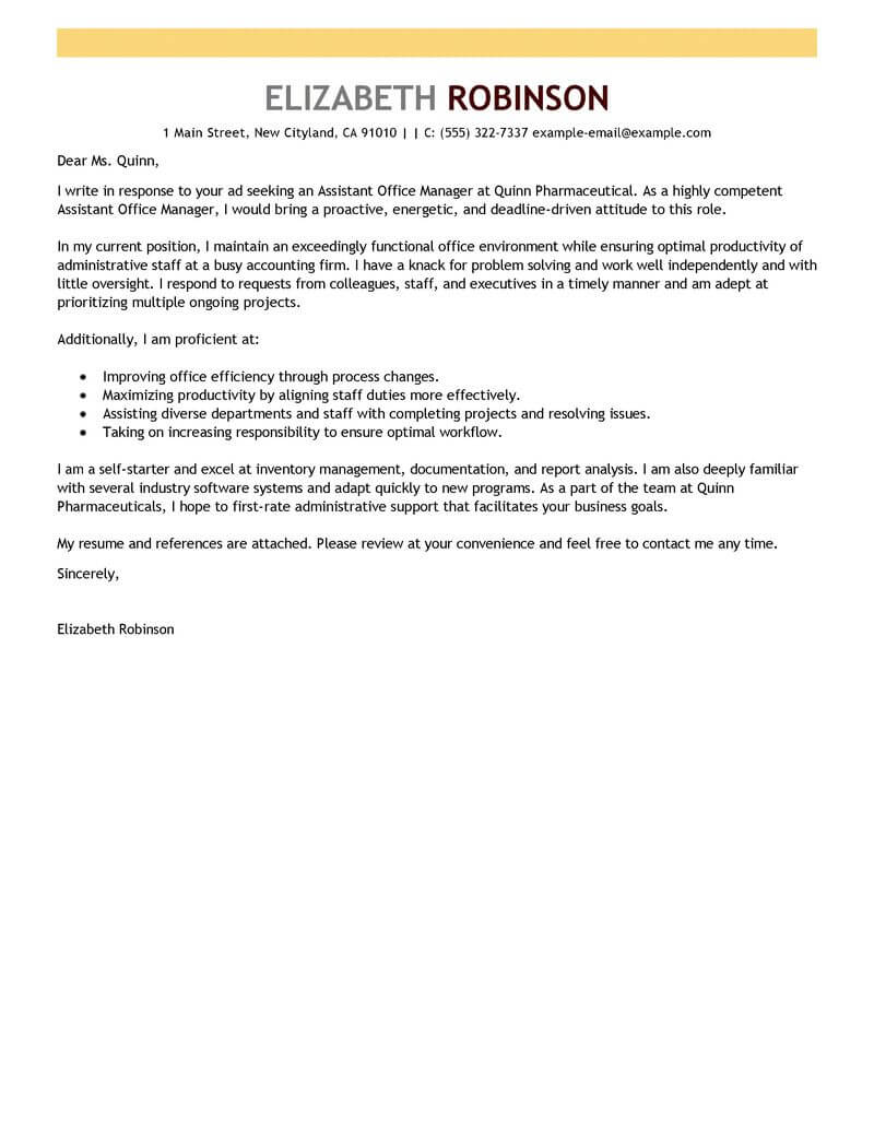 Best Administrative Cover Letter Examples LiveCareer