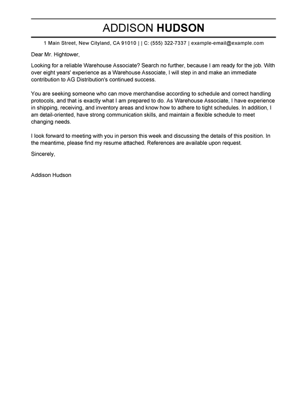 warehouse cover letter examples