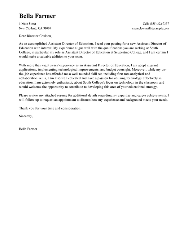 Best Education Assistant Director Cover Letter Examples LiveCareer