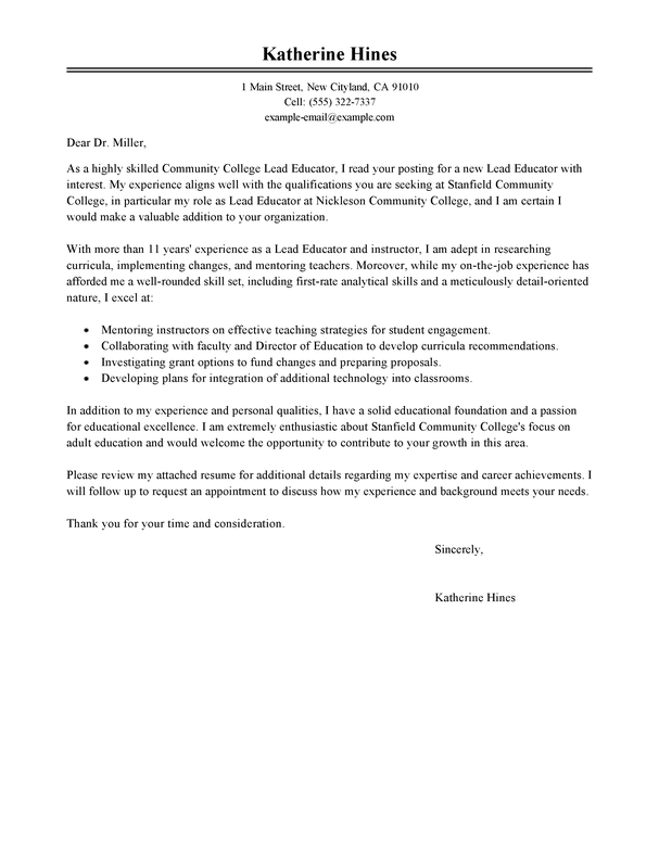Best Lead Educator Cover Letter Examples LiveCareer