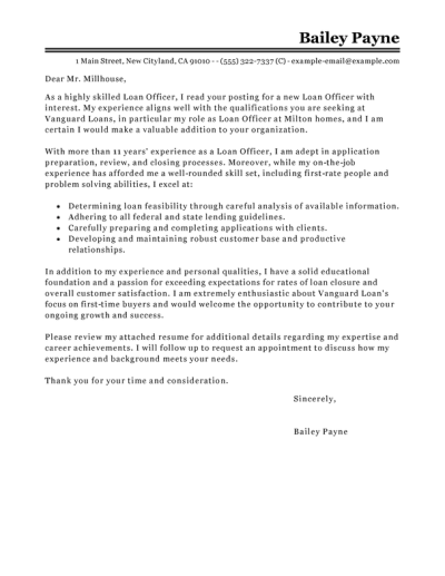 Best Loan Officer Cover Letter Examples | LiveCareer