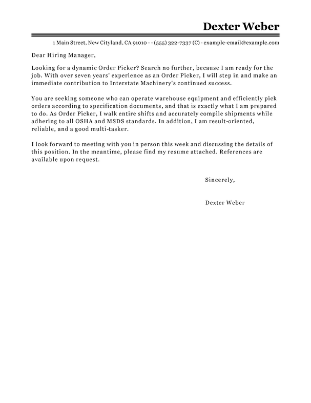 Best Order Picker Cover Letter Examples LiveCareer