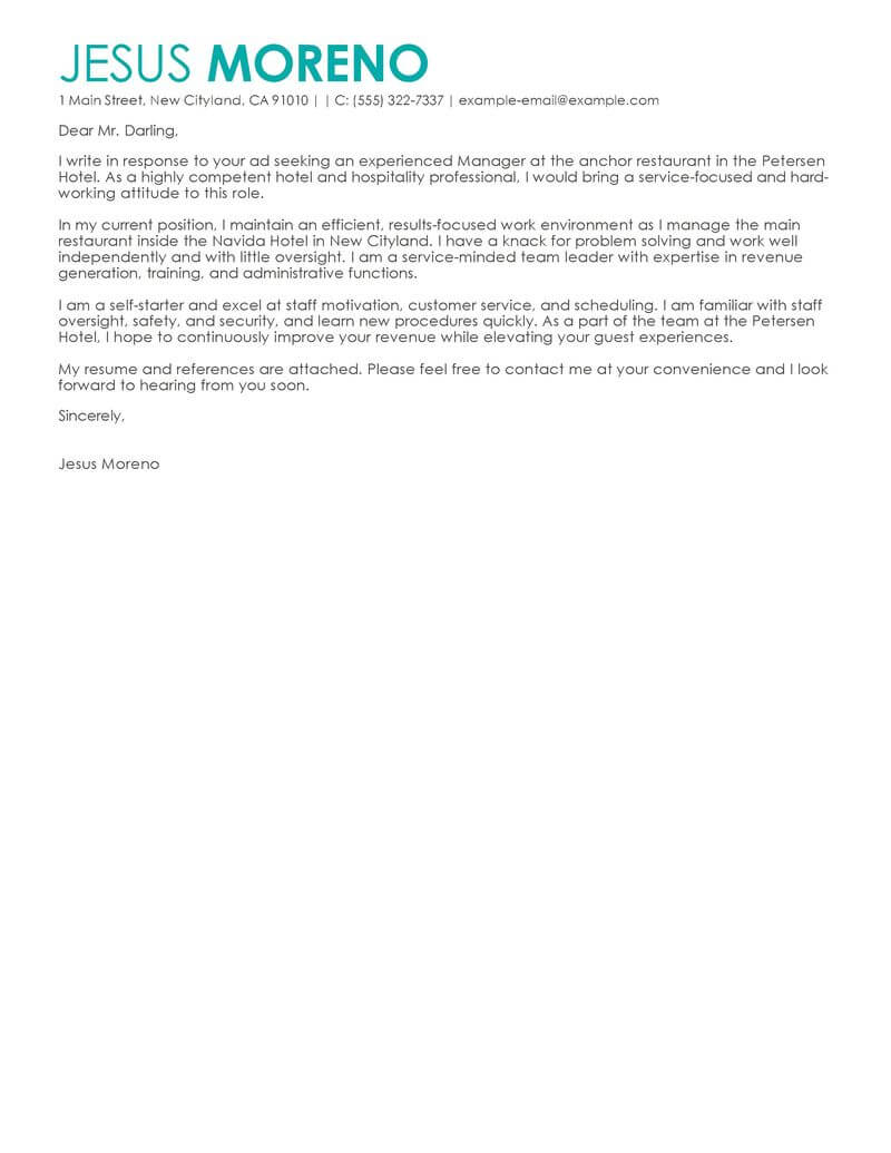 resume cover letter for hospitality
