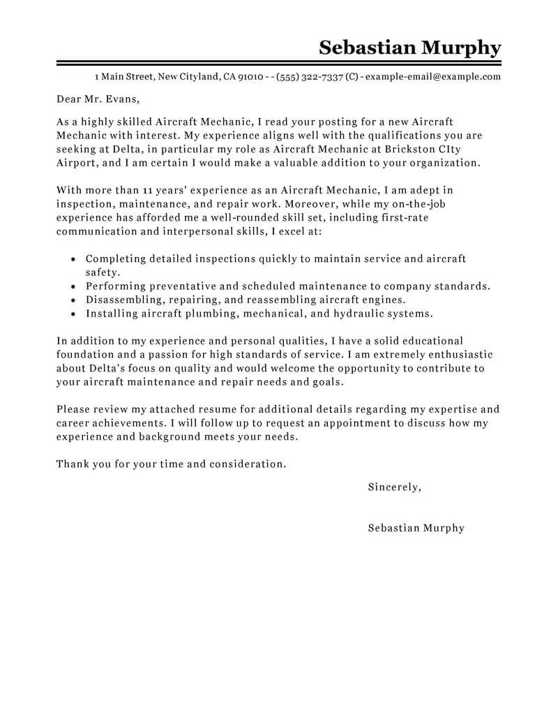 aircraft technician cover letter