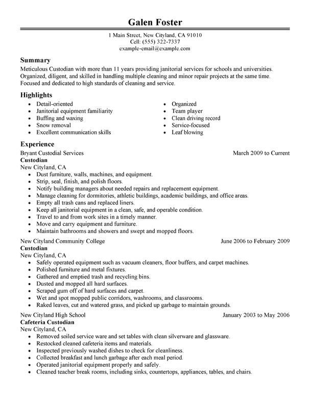 cleaner resume example no experience