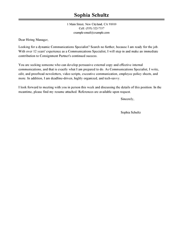 media cover letter samples