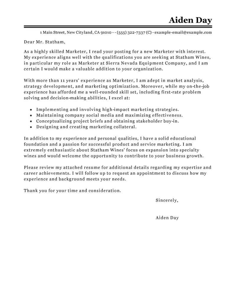 marketing specialist cover letter