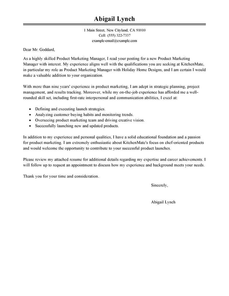 product marketing cover letter