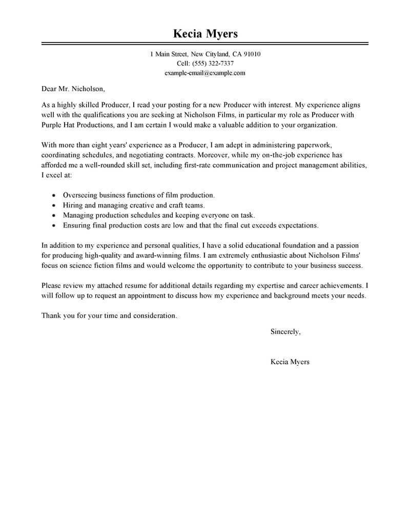 entertainment industry cover letter