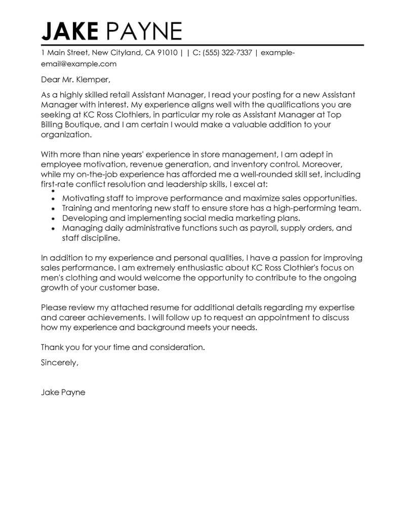 cover letter for assistant manager position in retail