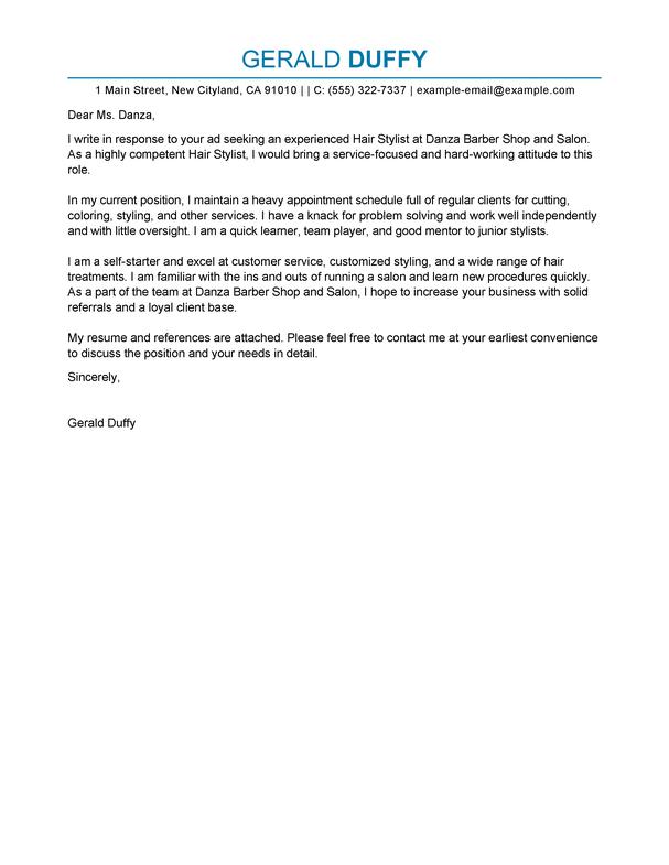 salon manager cover letter