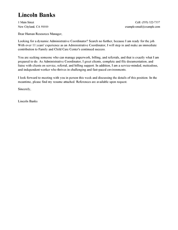 Best Social Services Administrative Coordinator Cover Letter