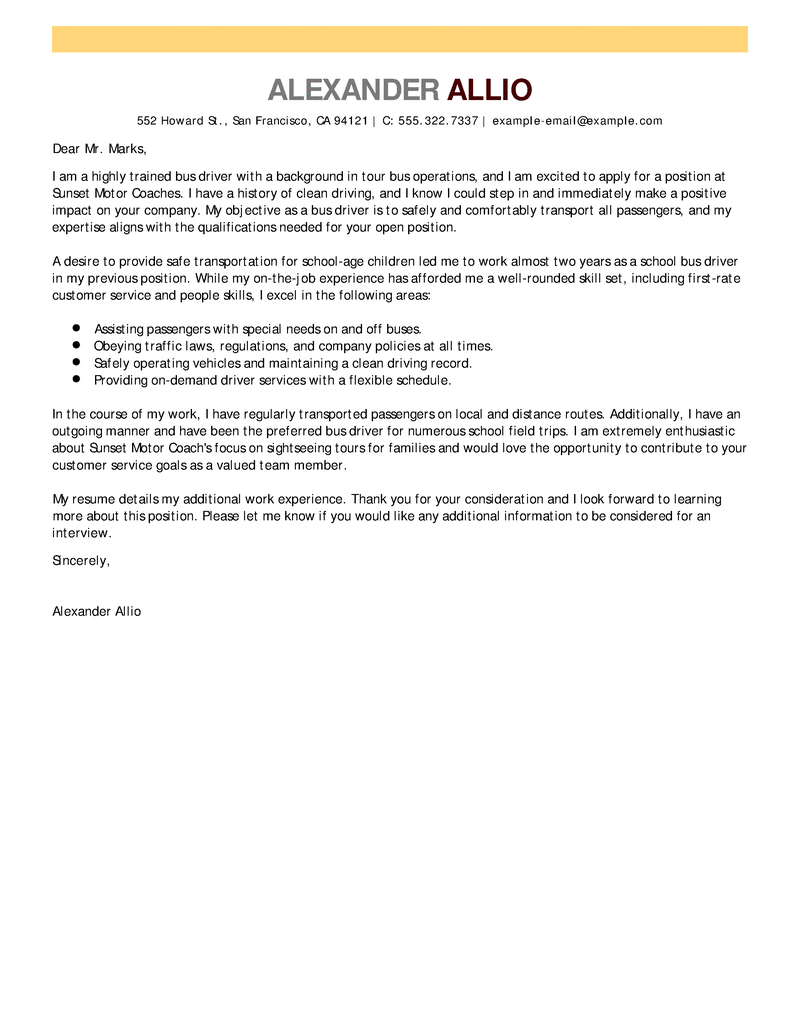 bus driver cover letter