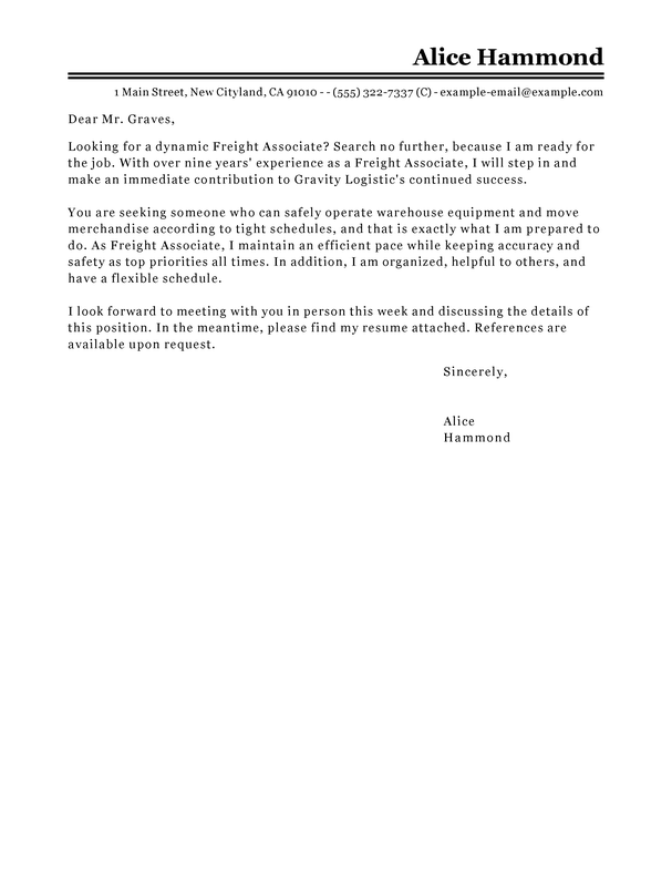 Best Freight Associate Cover Letter Examples LiveCareer