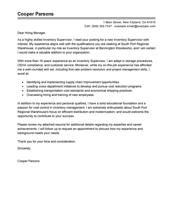 warehouse supervisor cover letter example - zaxa