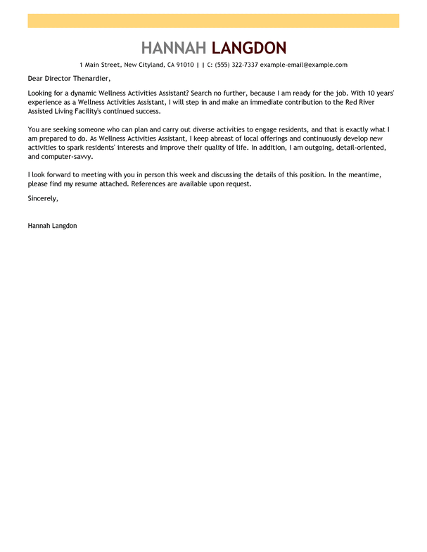 cover letter for activities assistant - Towerssconstruction