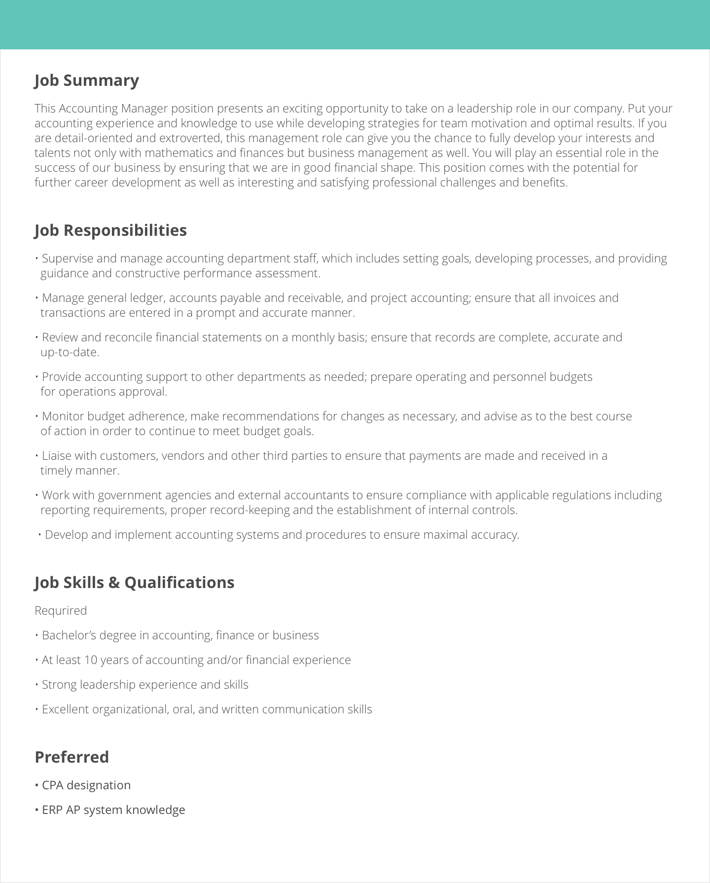 job description samples for resume