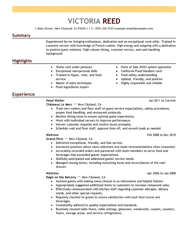 example cv employe snack