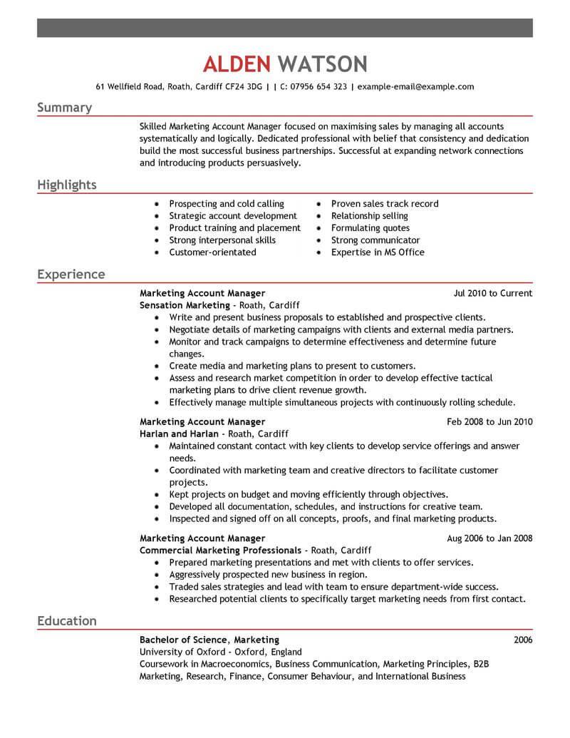sports marketing manager resume samples