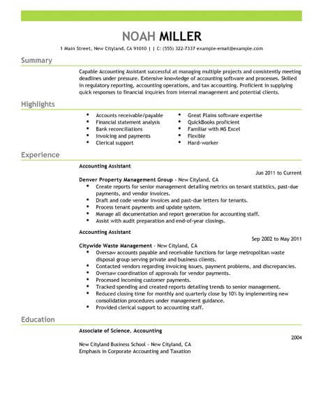 Best Accounting Assistant Resume Example LiveCareer - make your resume