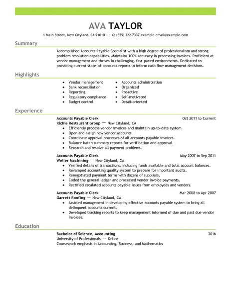 Best Accounts Payable Specialist Resume Example LiveCareer - ap accountant sample resume