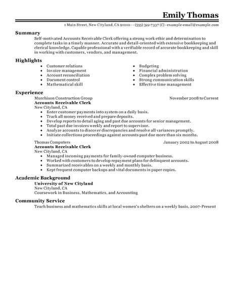 Best Accounts Receivable Clerk Resume Example LiveCareer - account receivable resume sample