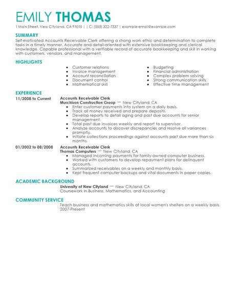 Best Accounts Receivable Clerk Resume Example LiveCareer - accounts receivable sample resume