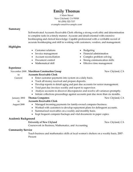 accounts receivable resume samples - Yelommyphonecompany