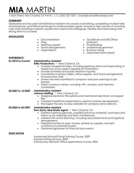 administrative assistant description resume - Trisamoorddiner