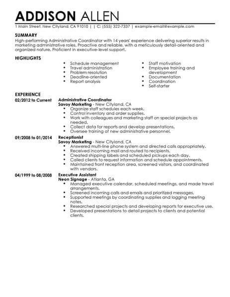 administrarive coordinator resume sample