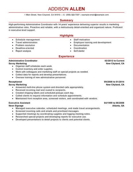 Best Administrative Coordinator Resume Example LiveCareer - resume format for administration