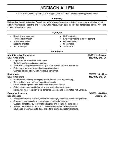 Best Administrative Coordinator Resume Example LiveCareer - Marketing Administrator Sample Resume