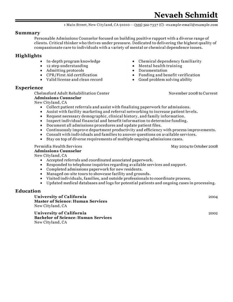 sample mental health resume accomplishments