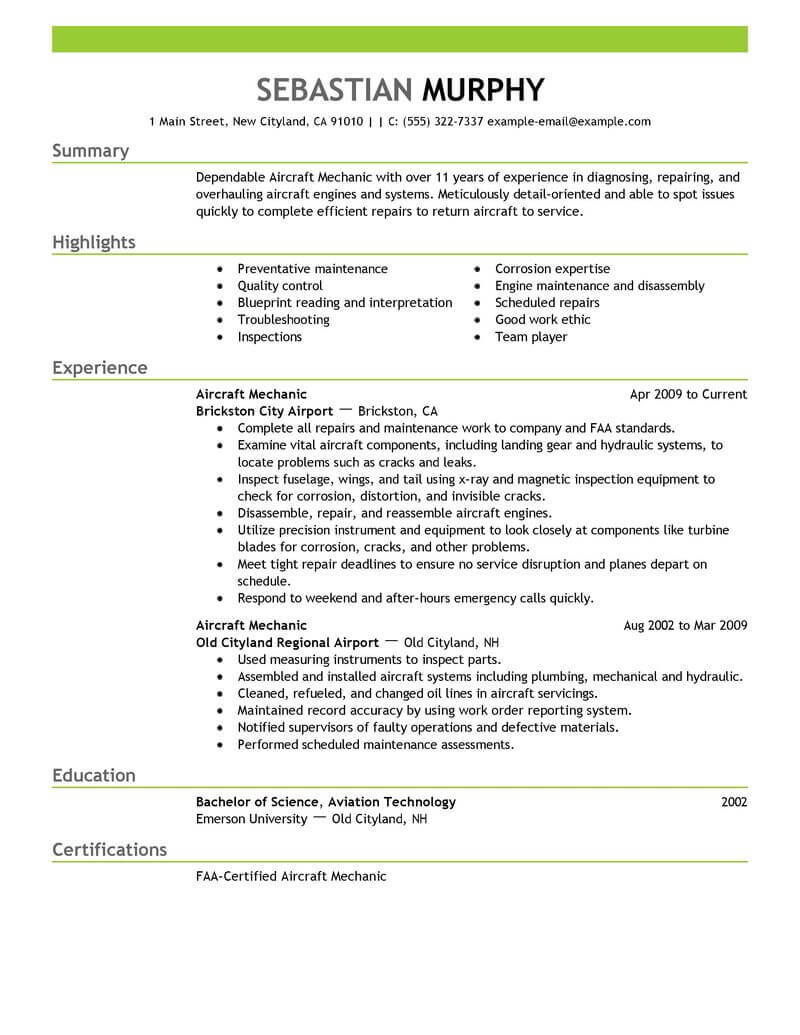 resume examples for helicopter mechanic