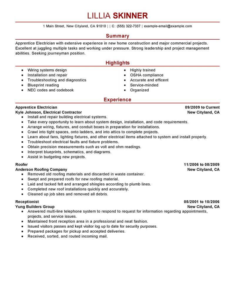 resume sample for electrician apprentice